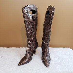 J. Renee imitation croc kni-high heeled boots 9M